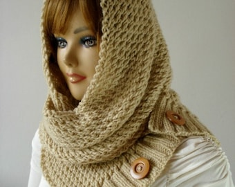 KNITTING PATTERN HOODED Cowl Scarf - LouLou Hood Scarf Cowl - Hooded Infinity Scarf Knit Pattern pdf Instant download