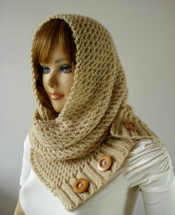 Knitting Pattern Hooded Cowl Scarf Loulou Hood Scarf Cowl