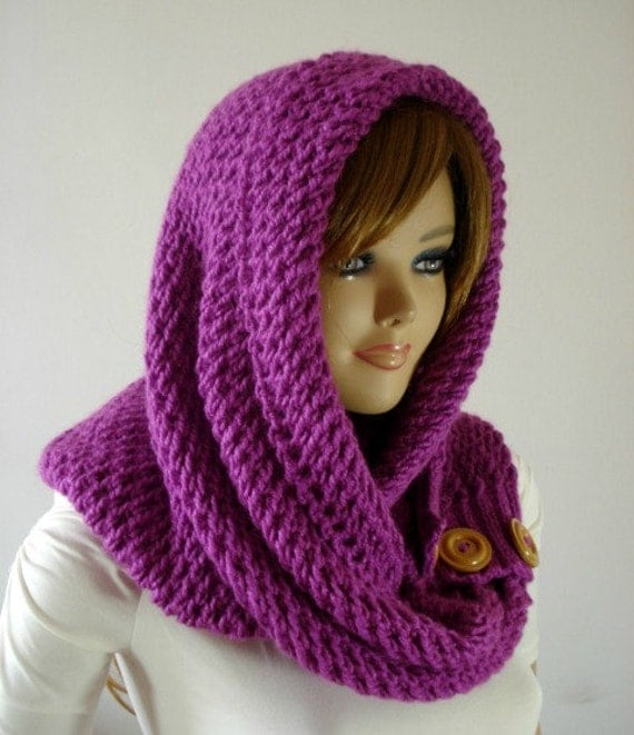 KNITTING PATTERN HOODED Cowl Scarf - LouLou Kiss Hood scarf Cowl - Hooded Inf...