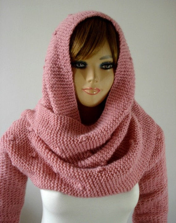 Knitting Pattern Scarf With Sleeves : KNITTING PATTERN Hooded Scarf with Sleeves Cowl by LiliaCraftParty