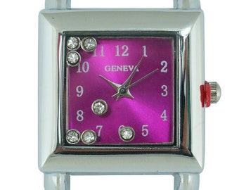 Geneva Floating Stones Solid Bar Ribbon Square Beading Watch Face ~ Many Colors Available!