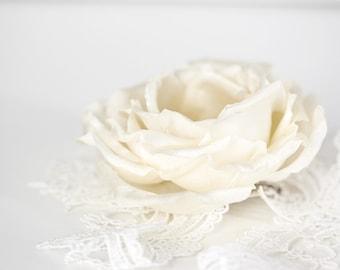 793_Ivory hair flower, Flower hair clip, Bridal hair flower, Silk flower hair clip, Bridal hair clip, Bridal floral hair clip Rose Hair rose