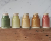 5 custom spice bottles. handmade spice bottles and herb jars. small pottery jars with custom name labels. read item details before ordering