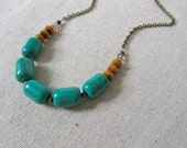 Turquoise + Mustard Necklace, Statement Necklace, Genuine Turquoise Necklace, Stone Necklace