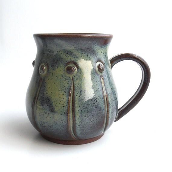 Große Blau-grüne Keramik Blume Krug
