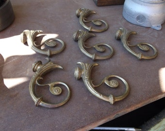Lot of Six Solid Brass Chadelier Arms Vintage Lighting Parts Horn of Plenty