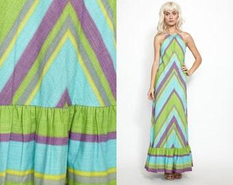 Vintage 60s  70s Chevron STRIPE Halter Top MAXi Dress //