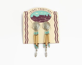 Vintage Tribal Earrings- Sterling Silver Bead and Feather Earrings
