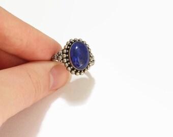 Vintage Boho Lapis Lazuli Stone Ring