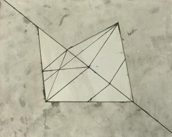 """Modern Monochrome OOAK Fine Art 9.5x11.75 """"Hanging"""""""