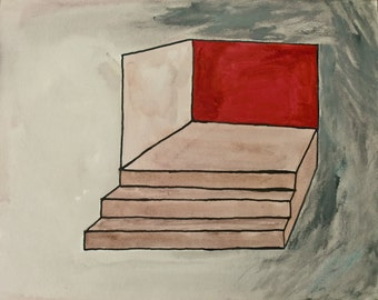 """Modern Original Ink Drawing Colored with Acrylic Paint 9.5x11.75 """"Red Wall"""""""