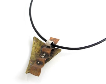 """Triangle Mixed Metals Pendant - aged brass, aged copper triangle pendant - boho style necklace- Layered Pendant 18"""" black leather cord chain"""