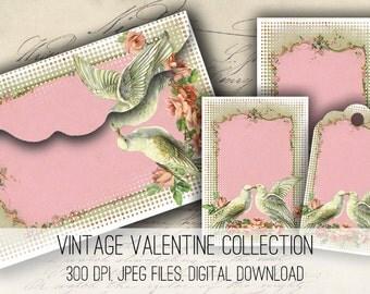 Digital Collage Sheet Download - Valentines Envelopes, Tags & Cards - 1160  - Digital Paper - Instant Download Printables