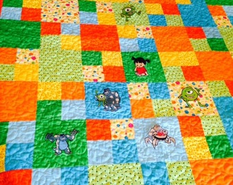 Sale Monsters Inc Quilt Disney Machine Embroidered Baby Quilt