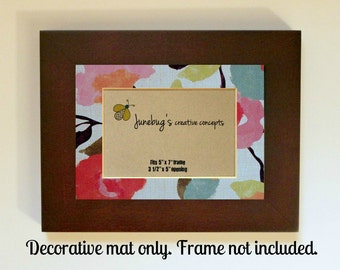 Photo Mat fits 5x7 8x10 Frame Pink Blue Watercolor Flowers