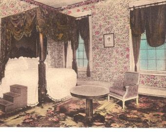 Vintage Postcard....Tennessee, Nashville, Lafayette's Bedroom, The Hermitage....Unused...no. 1672