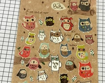 Owl sticker seal - 1 sheets - Funny sticker World Korea stationery Colorful Owl, Cute owl Scrapbook material supplies