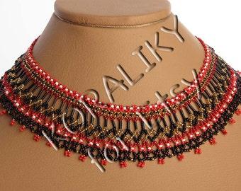 Traditional Ukrainian Folk Handmade Glass Jewelry Beads Beaded Necklace Gerdan: Red /Black /Gold