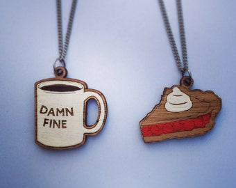 Wood laser cut necklace  - cherry pie OR damn fine coffee mug twin peaks agent cooper