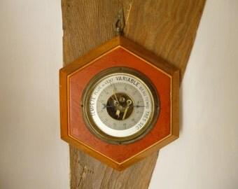 Art Deco Barometer French Vintage Wall Hanging Bakelite and Wood