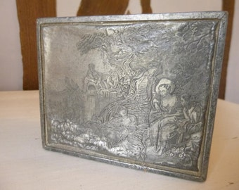 Antique Etched Pewter Jewellery Box Storage Dresser Home Decor