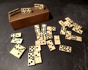 Antique tiny pear tree and Bone Dominoes. COMPLETE Travel Vintage Domino Set of 28 pieces .1800s.