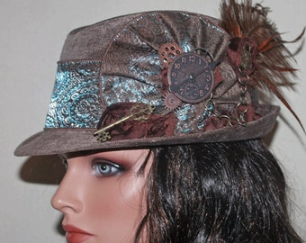 Brown Velvet Vintage Style Steampunk Fedora