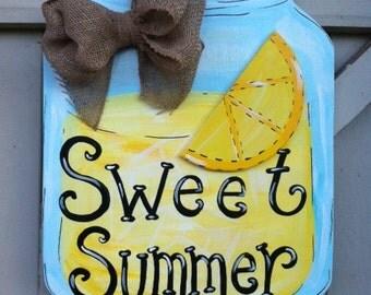 Summer Lemonade Mason Jar Personalized Monogram Wooden Door Hanger Burlap Bow