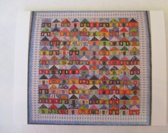 Set of ten 100 Houses quilt note card (folded)