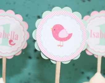 SWEET BIRDIE Birthday Party Cupcake Toppers 12 {One Dozen} Pink Mint Green - Party Packs Available