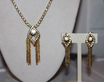 Fab 40's Deco Style Set of Rhinestone Tassled Necklace and Earrings