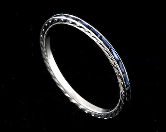 Hand Engraved Baguettes Wedding Ring, French Cut Sapphire Band, Stackable Band, Thin Eternity Platinum Band, Gemstone Wedding Band 1.4mm