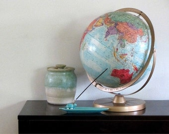 "Vintage Replogle World Nation Series 12"" Globe Geographical Sphere Bronze Axis Office Library Desk Back To School"