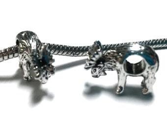 3 Beads - Moose Deer Antler Animal Silver European Charm Bead E1354