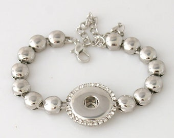 "1 Bracelet - 7.5-9.5"" FITS 18MM Candy Snap Charm Jewelry Silver KB3308 Cj0041"