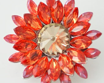 1 PC 18MM Orange Yellow Rhinestone Flower Silver Candy Snap Charm KB8676 Cc0385