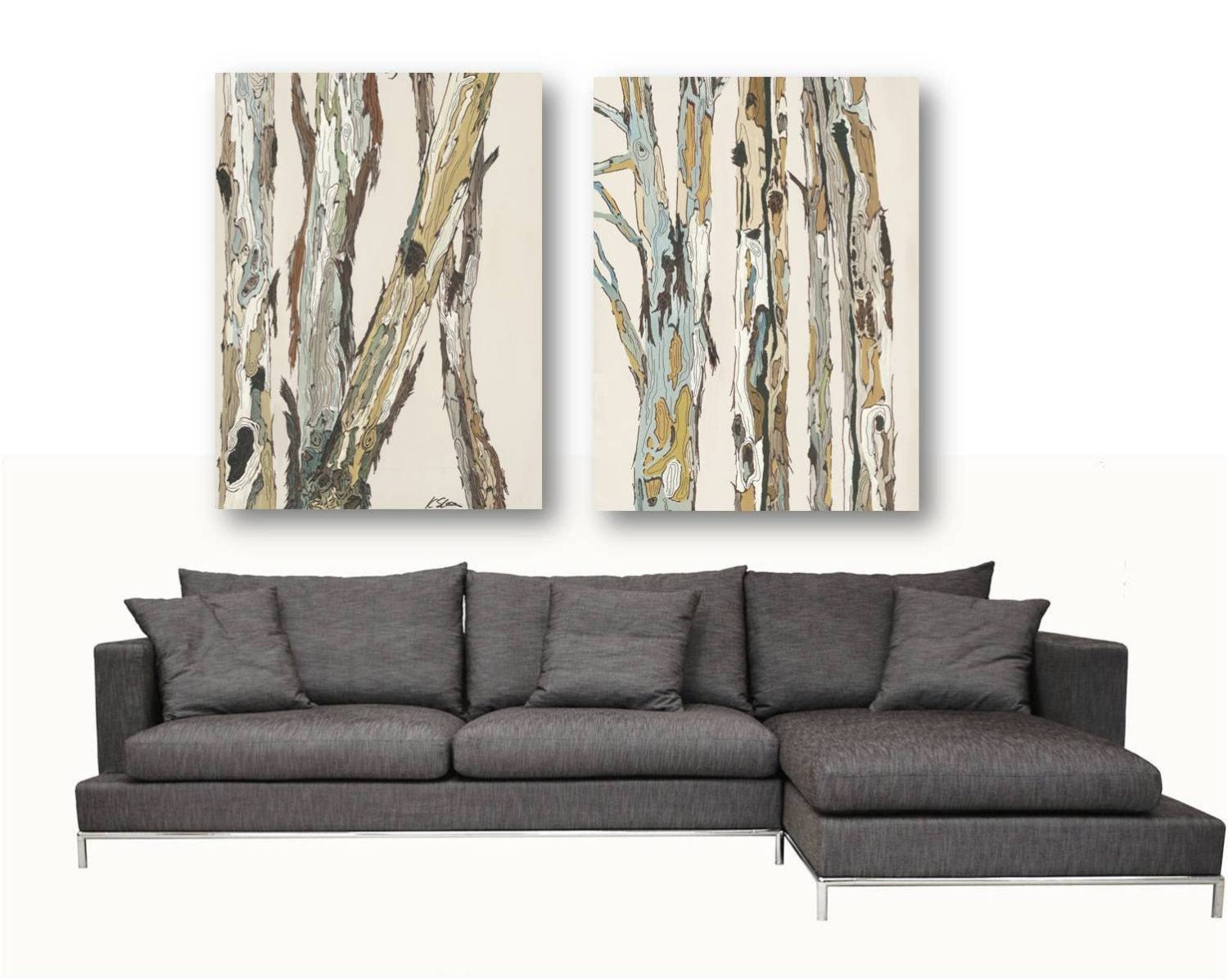 Extra large wall art diptych set canvas oversized by for Big wall decor