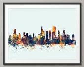 Chicago Skyline, Chicago Illinois Cityscape Art Print (1583)