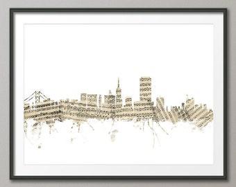 San Francisco Skyline Sheet Music Cityscape, Art Print (1382)