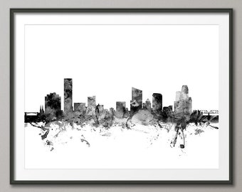 Grand Rapids Skyline, Grand Rapids Michigan Cityscape Art Print (1549)