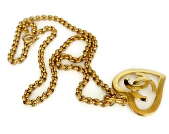 Vintage CHANEL Heart Logo Necklace
