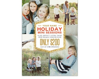 INSTANT DOWNLOAD - Holiday Mini Session template - Photoshop template - E939