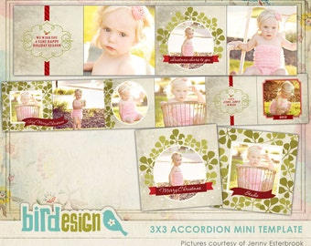 Christmas Accordion mini template 3x3 - Green Holidays - E546