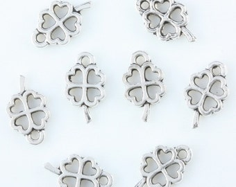 4 Leaf Clover Charm 16 Tiny Charms Antique Silver Tone 10 x 6 mm - ts602