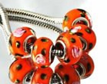 1 Orange Glass Beads European Beads 14 x 10 mm Large Hole Bead - ec209