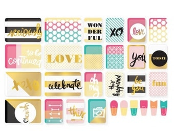 Shop Closing Sale! Mix & Match Value Kit -- Project Life -- 96 Pieces -- Overlays -- Paper Clips -- Cards -- Gold Foil