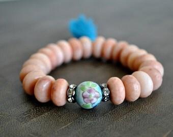 CLOISONNE PINK AVENTURINE tassel bracelet