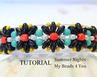 PDF Beading Tutorial, Beaded Bracelet Pattern, Beading Instructions, Pattern, Seed Bead Tutorial, Jewelry Making Pattern, Superduo Bracelet