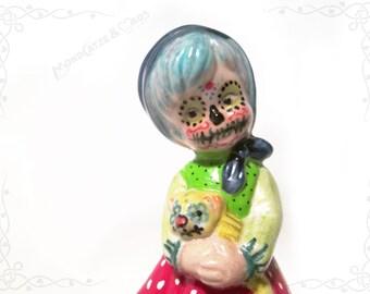 "Altered porcelain figurine ""Niña Catrina"" Dia de los Muertos"