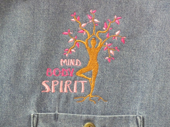 Yoga shirt embroidery design denim long sleeve to add